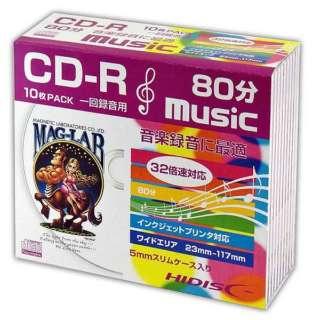 HDCR80GMP10SC 音楽用CD-R HIDISC ホワイト [10枚 /700MB /インクジェットプリンター対応]
