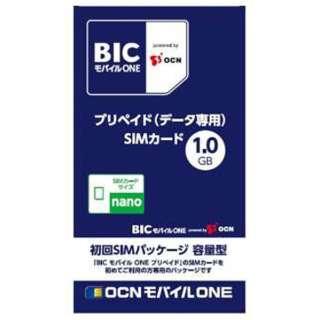 ナノSIM 「BIC モバイル ONE」 プリペイド・データ通信専用・SMS非対応 ドコモ対応SIMカード OCN023
