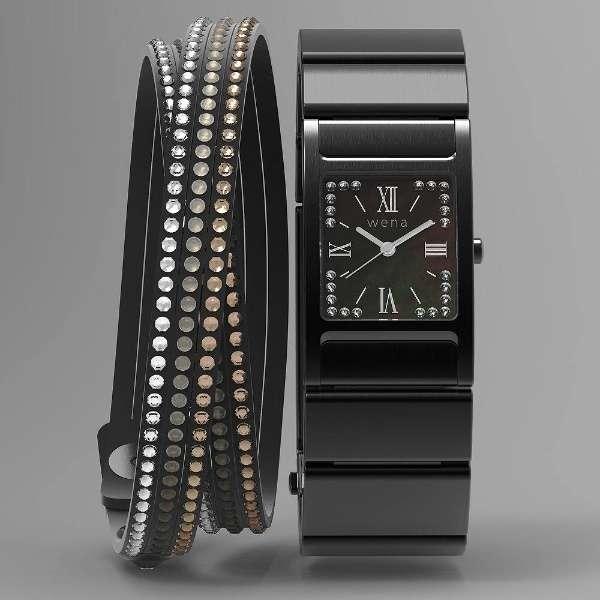 ウェラブル端末 「wena wrist Square Premium Black -Crystal Edition-」 WN-WT12B