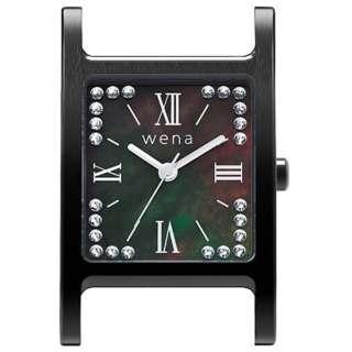 wena wrist交換用ヘッド Three Hands Square -Crystal Edition-Head Premium Black WN-WT12B-H