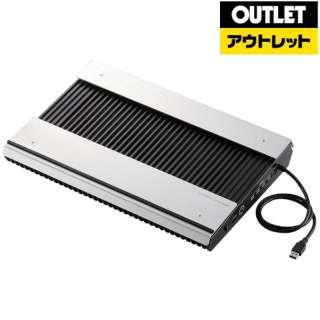 【アウトレット品】 エレコム ノートパソコン冷却台 PS3 PS4 横置き アルミボディ 高耐久 USB3.0ハブ4ポート搭載 大型ファン×2 ブーストモード切替 17インチまで対応 SX-CL24LBK-W 【生産完了品】