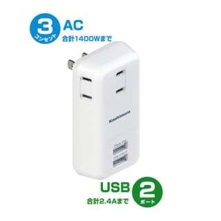 USBタップ (USBx2・2ピン式・3個口) AJ-520 ホワイト