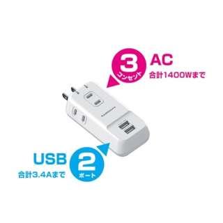 USBタップ (USBx2・2ピン式・3個口) AJ-530 ホワイト