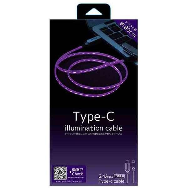 [Type-C ]ケーブル 充電・転送 0.8m パープル CK-C06PU [0.8m]