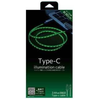 [Type-C ]ケーブル 充電・転送 0.8m グリーン CK-C06GR [0.8m]