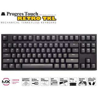 AS-KBPD87/SRBK キーボード CHERRY MX 静音赤軸 ARCHISS ProgresTouch RETRO TKL 黒 [有線]