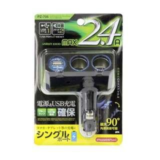 リングライトソケット ディレクションツイン+USB 2.4A PZ-706