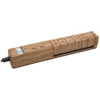 USB充電ポート付電源タップ (2ピン式・6個口・USB2ポート・1.8m) TAP KING USB NATURAL WOOD  PT601BEWD
