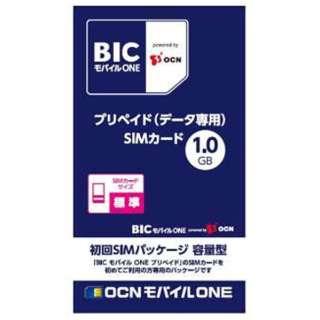 標準SIM 「BIC モバイル ONE」 プリペイド・データ通信専用・SMS非対応 ドコモ対応SIMカード OCN021