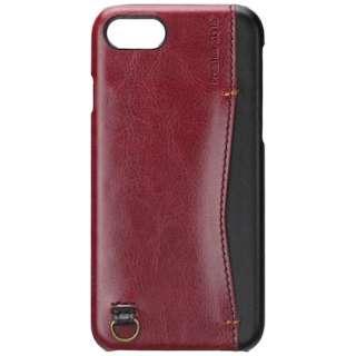 iPhone 7用 バックポケットケース Stitch レッド PG-16MCA10RD