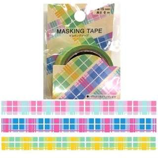 マスキングテープ 1.5cm×6m タータンチェックパステル MKT-99