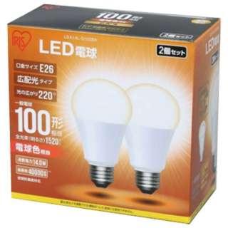 [広配光] LDA14L-G-102BK LED電球 ECOHiLUX(エコハイルクス) ホワイト [E26 /電球色 /2個 /100W相当 /一般電球形 /広配光タイプ]