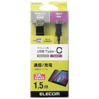 1.5m[USB-C ⇔ USB-A]2.0ケーブル 充電・転送 ブラック TB-AC15NBK