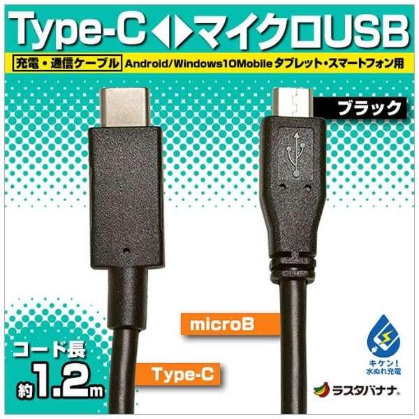 [Type-C ⇔ micro USB]ケーブル 充電・転送 1.2m ブラック RBHE268