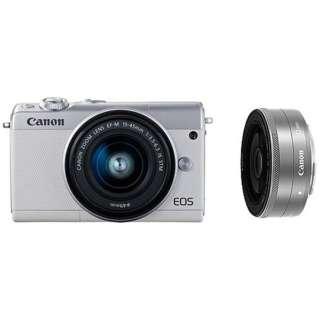 EOS M100 ミラーレス一眼カメラ ホワイト [ズームレンズ+単焦点レンズ]