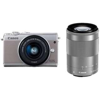 EOS M100 ミラーレス一眼カメラ ダブルズームキット グレー [ズームレンズ+ズームレンズ]