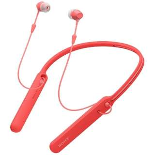 ブルートゥースイヤホン カナル型 レッド WI-C400RZ [リモコン・マイク対応 /ワイヤレス(ネックバンド) /Bluetooth]