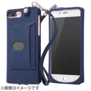 94e464552b iPhone 7 Plus用 オープンケース カラフル ストラップ付き ネイビー IN-P7PCLC1/N