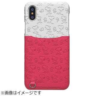 iPhone X用 スヌーピー ポケットケース 総柄 ホワイト/ピンク TOEI579