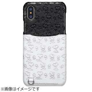 iPhone X用 スヌーピー ポケットケース 総柄 ホワイト/ブラック TOEI578