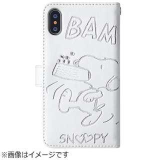 iPhone X用 手帳型 スヌーピー ストーンケース ホワイト TOEI561