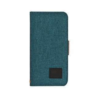 iPhone X用 ファブリック手帳型ケース ブルーxブラウン 3561IP8A