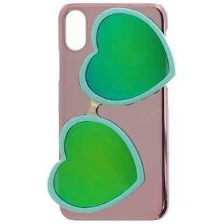 iPhone X用 Lucy ハートミラーサングラス付ハードケース ターコイズ LEPLUS LP-I8LUHSGTQ