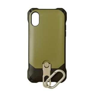 iPhone X用 スタンド機能付きカラビナケース カーキ 3414IP8A