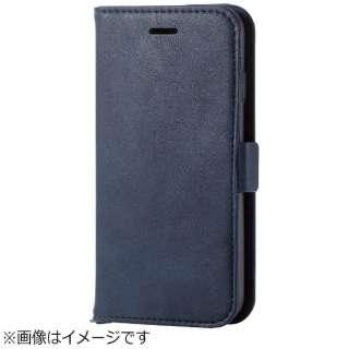 iPhone 8 手帳型  ソフトレザーカバー 磁石付 ネイビー PM-A17MPLFYNV