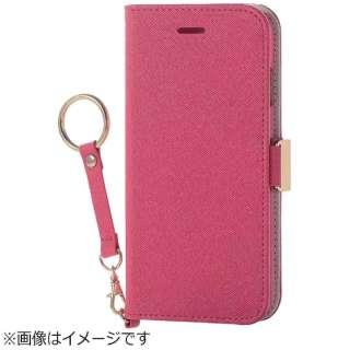 iPhone 8 手帳型  ソフトレザーカバー 女子向 磁石 ストラップ付 ピンク PM-A17MPLFJPND