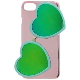 iPhone 8用 Lucy ハートミラーサングラス付ハードケース ターコイズ LEPLUS LP-IP7SLUHSGTQ