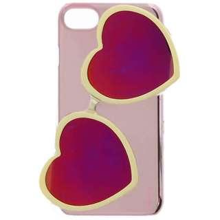 iPhone 8用 Lucy ハートミラーサングラス付ハードケース ホワイト LEPLUS LP-IP7SLUHSGWH