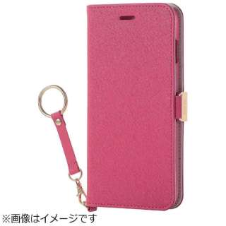 iPhone 8 Plus 手帳型 ソフトレザーカバー 女子向 磁石 ストラップ付 ピンク PM-A17LPLFJPND
