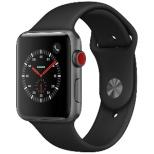 Apple Watch Series 3(GPS + Cellularモデル) 42mm スペースグレイアルミニウムケースとブラックスポーツバンド MQKN2J/A