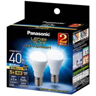 LDA4D-G-E17/Z40E/S/W/2/2T LED電球 小形電球形 プレミア ホワイト [E17 /昼光色 /2個 /40W相当 /一般電球形 /全方向タイプ]