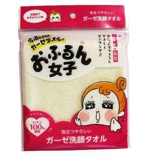 おふるん女子 泡立つやさしい ガーゼ洗顔タオル バラ(イエロー)