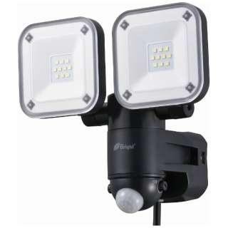 【屋外用】コンセント式LEDセンサーライト(2灯)「monban」 LS-A2165B-K