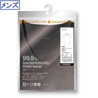 メンズ 制菌インナーウェア 発熱半袖Vネック TAGlabel by amadana(タグレーベル バイ アマダナ)(XLサイズ/ブラック) ATWSSV1