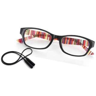老眼鏡 ライブラリーコンパクト 5085(ブラック×ストライプ/+3.50) 5085-35