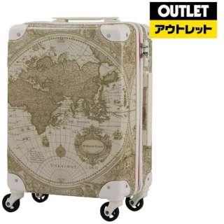 【アウトレット品】 スーツケース トランク H055ベージュ地図柄 7500-60-BEMAP 55L 【外装不良品】