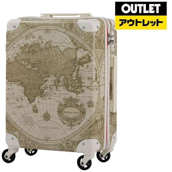 【アウトレット品】 スーツケース(32L) 7500-46-BEMAP ベージュ地図柄 【外装不良品】