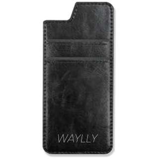 Waylly専用[iPhone 8用] ミラー付きカードケース ブラック WL67CC-BL 壁に張り付くケース