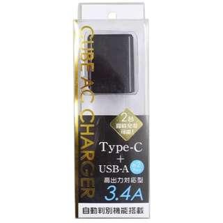 スマホ用USB充電コンセントアダプタ Type-C / USB-A充電器 3.4A (2ポート: C/A) BKS-ACUC34ADK ブラック