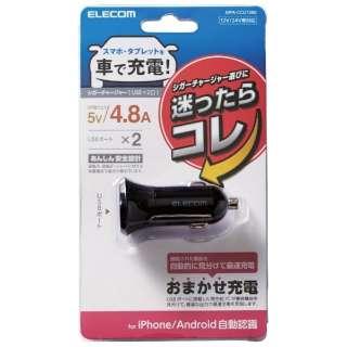 シガーチャージャー/2USBポート(自動識別)/4.8A/ブラック MPA-CCU10BK