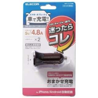 シガーチャージャー/2USBポート(自動識別)/4.8A/ブラウン MPA-CCU10BR
