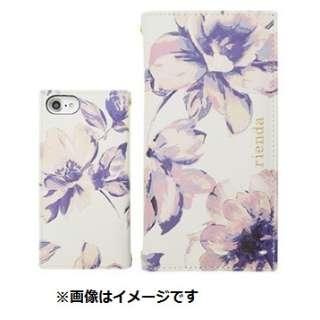 iPhone 8用 rienda 全面プリント 手帳型ケース モダニティーフラワー・ホワイト md-72720