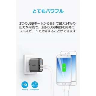 スマホ用USB充電コンセントアダプタ 4.8A ブラック A2023111 [2ポート]