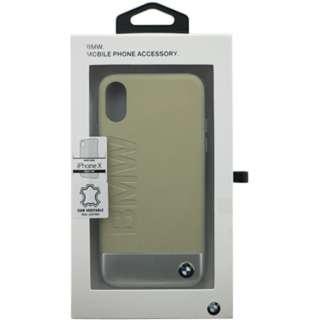 iPhone X用 BMW 本革+アルミ素材ハードケース ベージュ BMHCPXSGLALBE