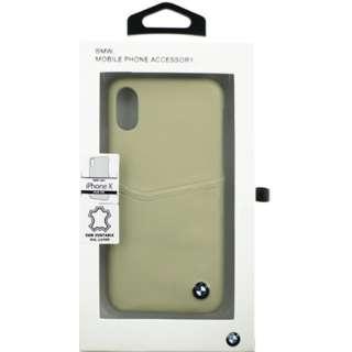iPhone X用 BMW 背面ポケット付本革ハードケース ベージュ BMHCPXGLCSTA