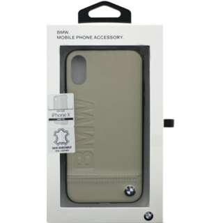 iPhone X用 BMW レザーケース 本革ハードケース Logo Imprint Genuine Leather ベージュ BMHCPXLLST